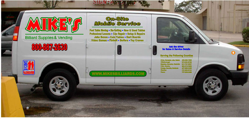 This 2006 Chev van is one of 5 service vehicles that is specially used to service pool table, billiard tables and snooker tables includes all of the following - 55 - Florida Counties. Alachua, Baker, Bradford, Brevard, Broward, Charlotte, Citrus, Clay, Collier, Columbia, Dade, De Soto, Dixie, Duval, Flagler, Gadsden, Gilchrist, Glades, Hamilton, Hardee, Hendry, Hernando, Highlands, Hillsborough, Indian River, Jackson, Jefferson, Lafayette, Lake, Lee, Leon, Levy, Madison, Manatee, Marion, Martin, Monroe, Nassau, Okeechobee, Orange, Osceola, Palm Beach, Pasco, Pinellas, Polk, Putnam, St. Johns, St. Lucie, Sarasota, Seminole, Sumter, Suwannee, Taylor, Union, Volusia and Wakulla County. Mike's Billiard Supplies and Crating provides recover, re-rubber and crating service to
