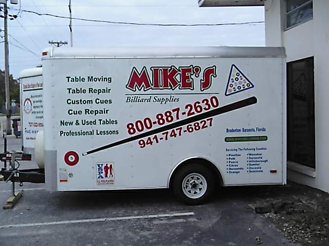 a 14' cargo trailer setup specially to transport pool tables and billiard tables safely in the 55 Counties in Florida that Mike's Billiard Supplies and Crating provides service to.